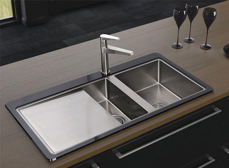Astracast Vantage S10 1.5 bowl black glass sink http://www.sinks ...