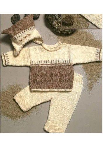 Photo of Bluse med mønster, bukser samt hue strikkeopskrift