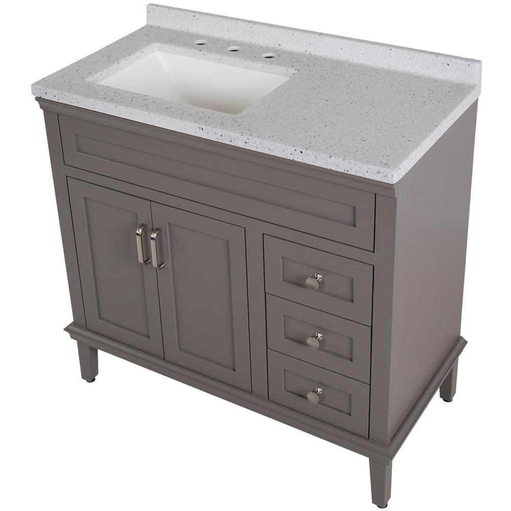 Home Decorators Collection Abbotsford 37 6 In W Vanity In Taupe Gray With Solid Surface Vanity Top I Home Depot Bathroom Vanity Gray Vanity Home Depot Bathroom