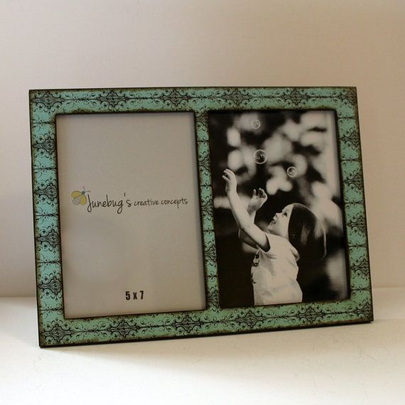 Double 4x6 Or 5x7 2 Photo Picture Frame Turquoise Black Scroll Double Photo Frame Wood Photo Frame Frame