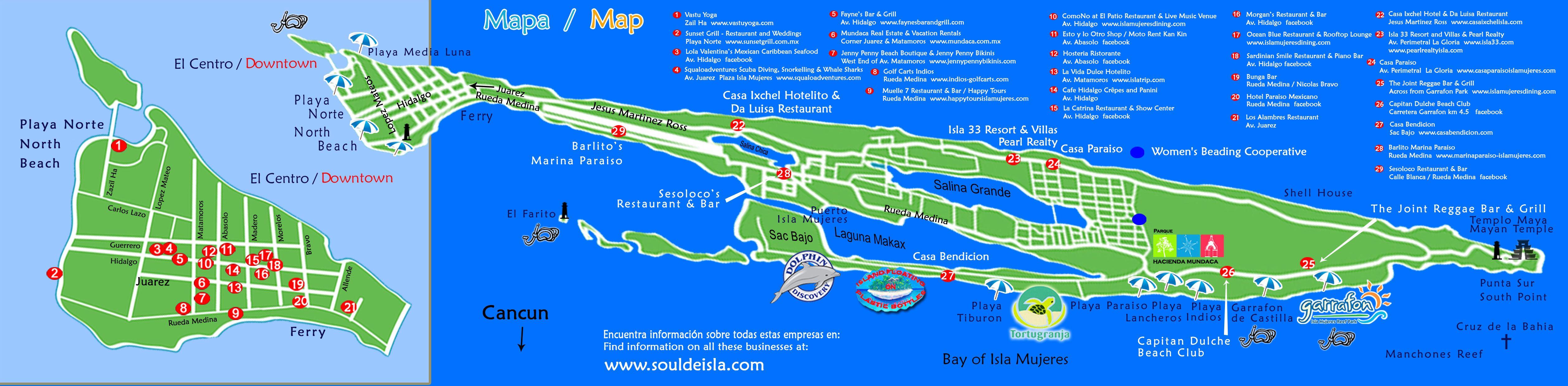 Isla Mujeres Map Isla Mujeres Tourist Guide 3 Pinterest