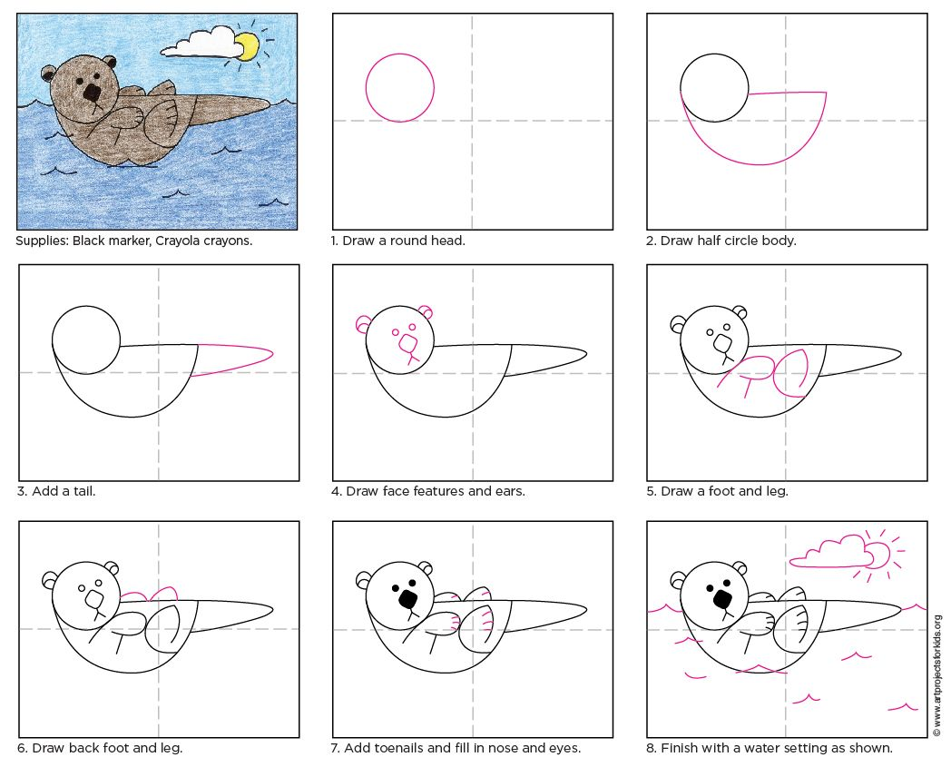 Bathroom drawing for kids - Draw A Sea Otter