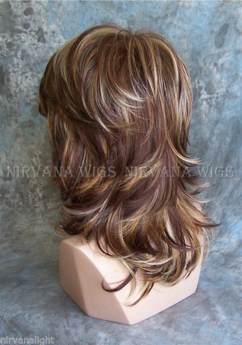 Large Fit 3tone Deep Auburn Copper Blonde Multi Layer Med Long Nirvana Sarah Wig Medium Hair Styles Hair Styles Long Hair Styles