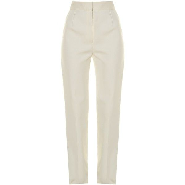 The Row Osborne wide-leg stretch-crepe trousers (€490) ❤ liked on Polyvore featuring pants, trousers, ivory, straight pants, cream wide leg pants, white wide leg pants, cream pants and tailored pants