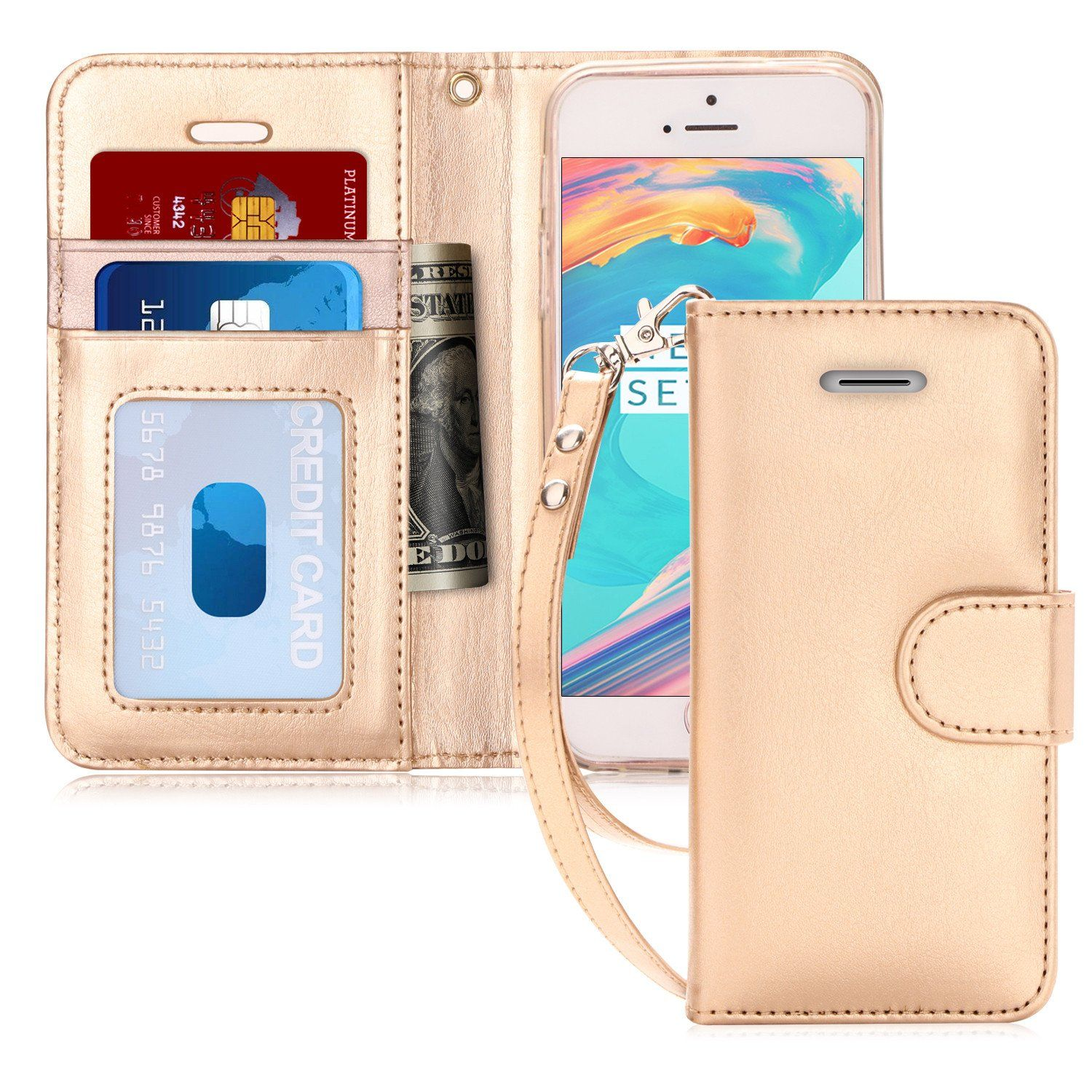 new products c15c6 9e7bf iPhone SE Case, iPhone 5S Case, FYY [Kickstand Feature] Flip Folio ...