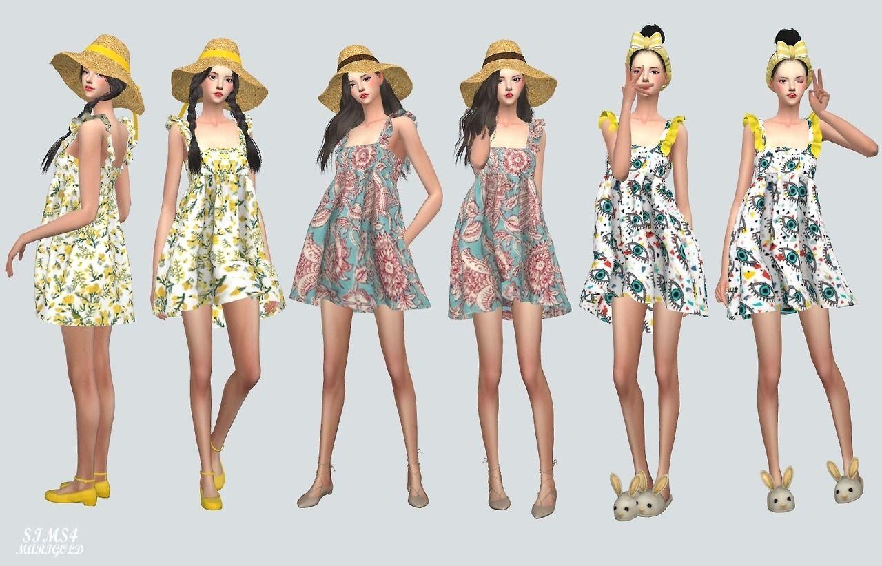 69c997a11 Lana CC Finds - Frill Babydoll Dress V2.Pattern by Marigold   Sims ...