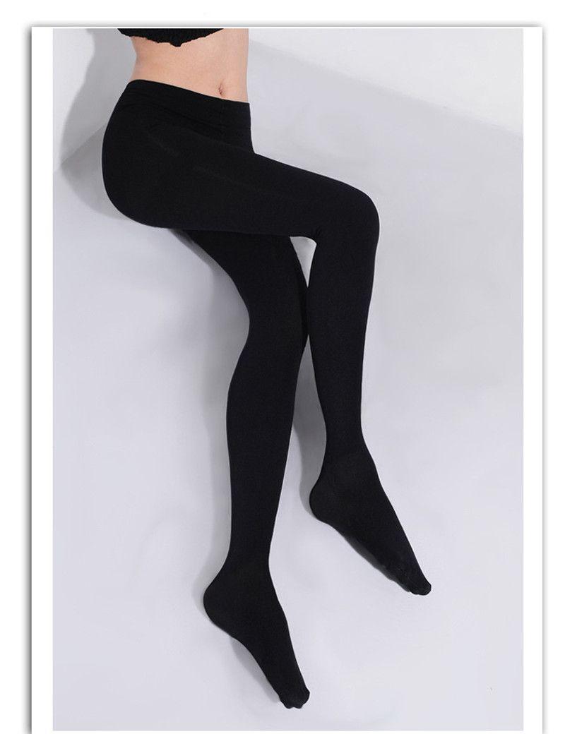 2016 2 Pcs Mulheres Microfibra 150D Collants Thermo Thermo Fleece Forrado meia-calça na Cor Preta Sólida Super Macio e Quente para inverno