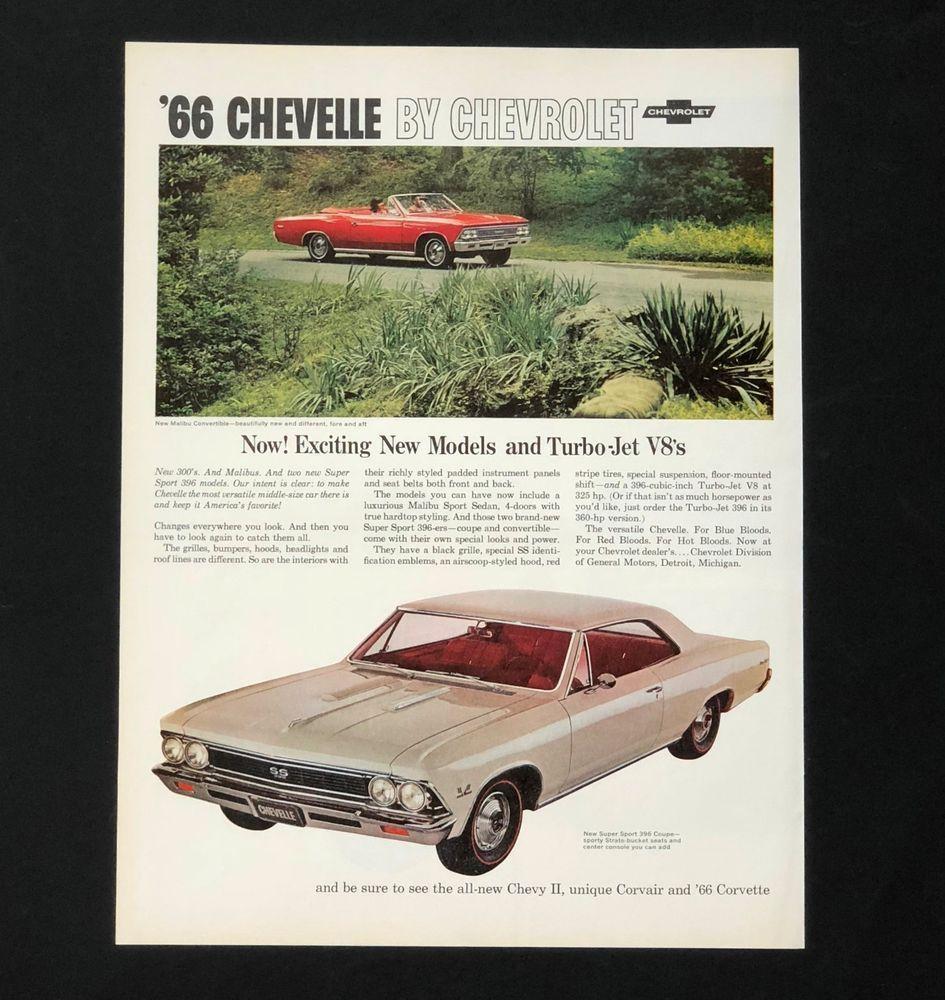 66 CHEVY BROCHURE CATALOG 1966 CHEVELLE 300 MALIBU SS VINTAGE ORIGINAL 16 p