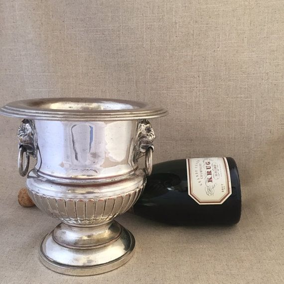 Wine Cooler~Lion Face~Bar Punch Bowl~Silver Plated~Ice Bucket~Champagne
