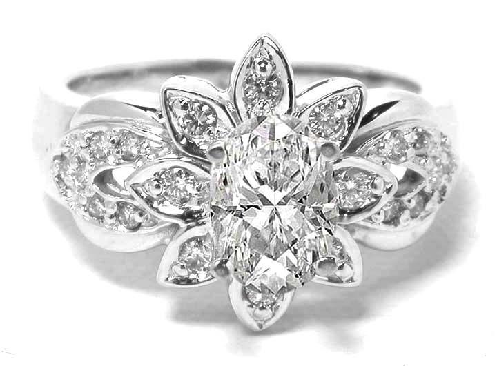 Flower Diamond Wedding Ring Inspirations Diamond flower