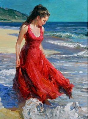 ON THE BEACH, painting is part of Art painting, Romantic paintings, Art pictures, Red art, Painting, Russian art - Gallery of artist Vladimir Volegov, portraits of very beautiful women
