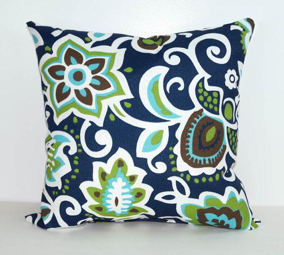 Floral Outdoor Pillow Cover Navy Green Aqua Pillow Cover Faxon