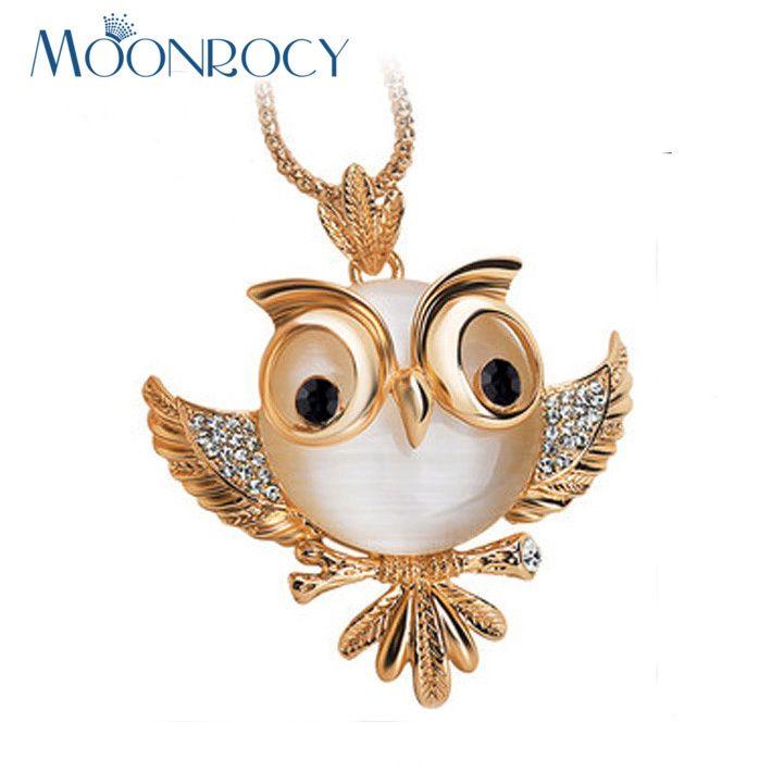 Vintage cristal eye chouette de bronze owlet collier