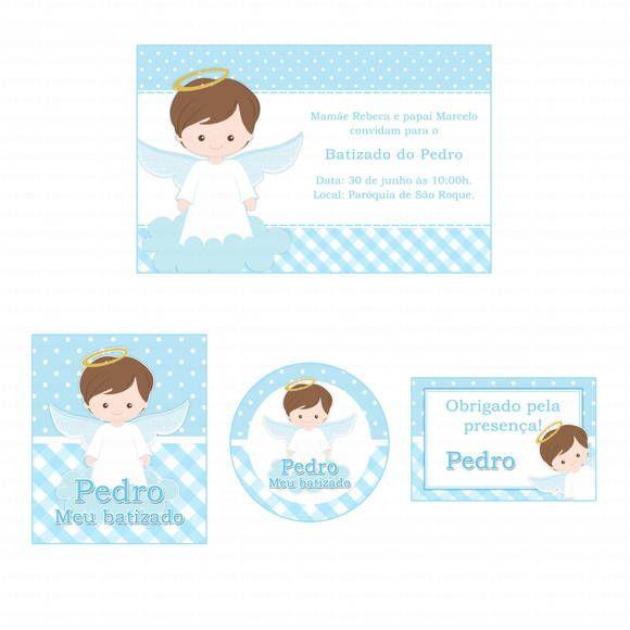 33441e87bdc Kit digital para imprimir Batizado menino anjinho azul e branco ...