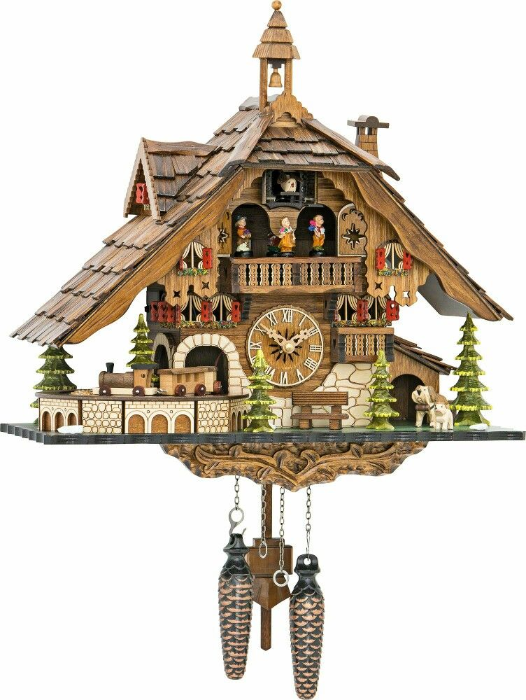 Cuckoo Clock With Shingle Roof And Moving Train New Your Specialist For Clocks Made In Germany The Calls Every Hour