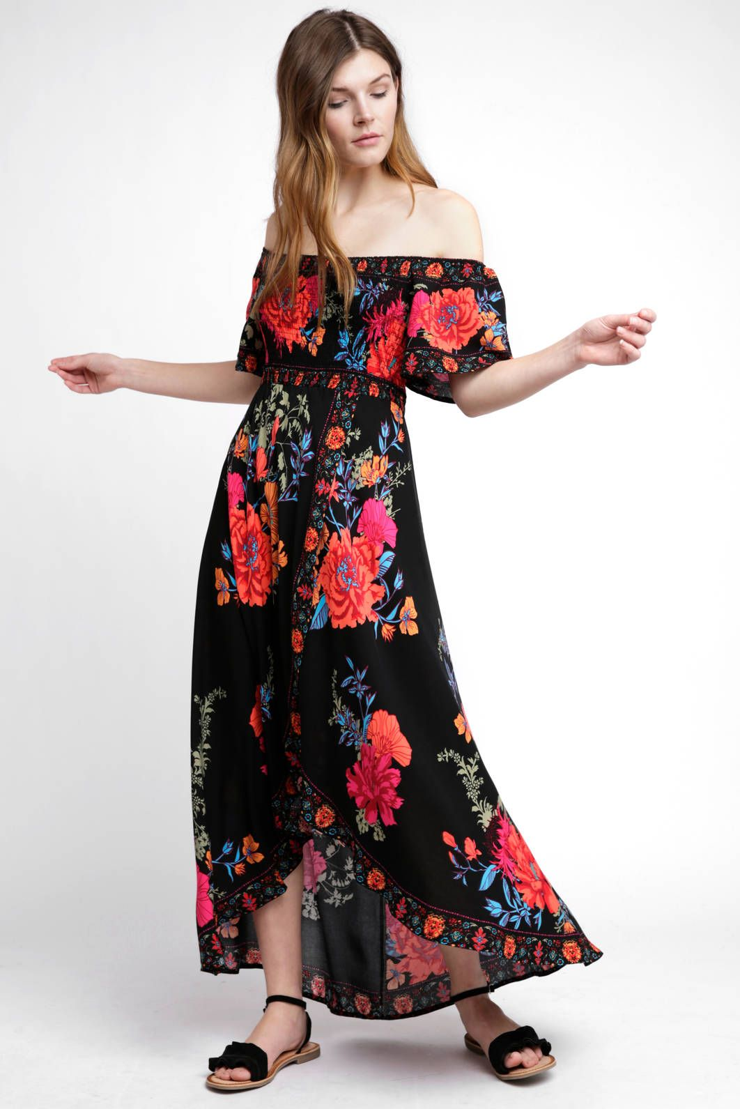 a5a9820b7467ed Flying Tomato Off Shoulder Floral Wrap Dress in BLACK MULTI