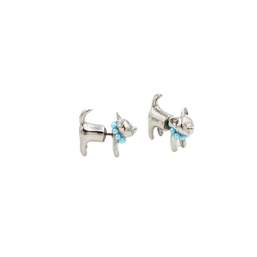 Pearl Kitty Cat Earrings set