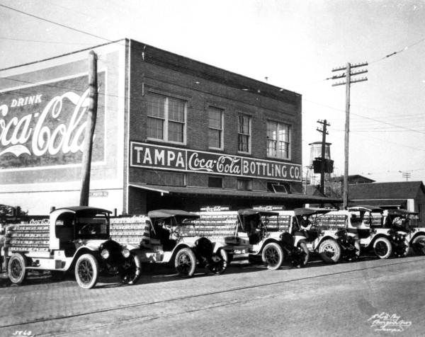 Cars in front of the Coca-Cola Bottling Company in Tampa