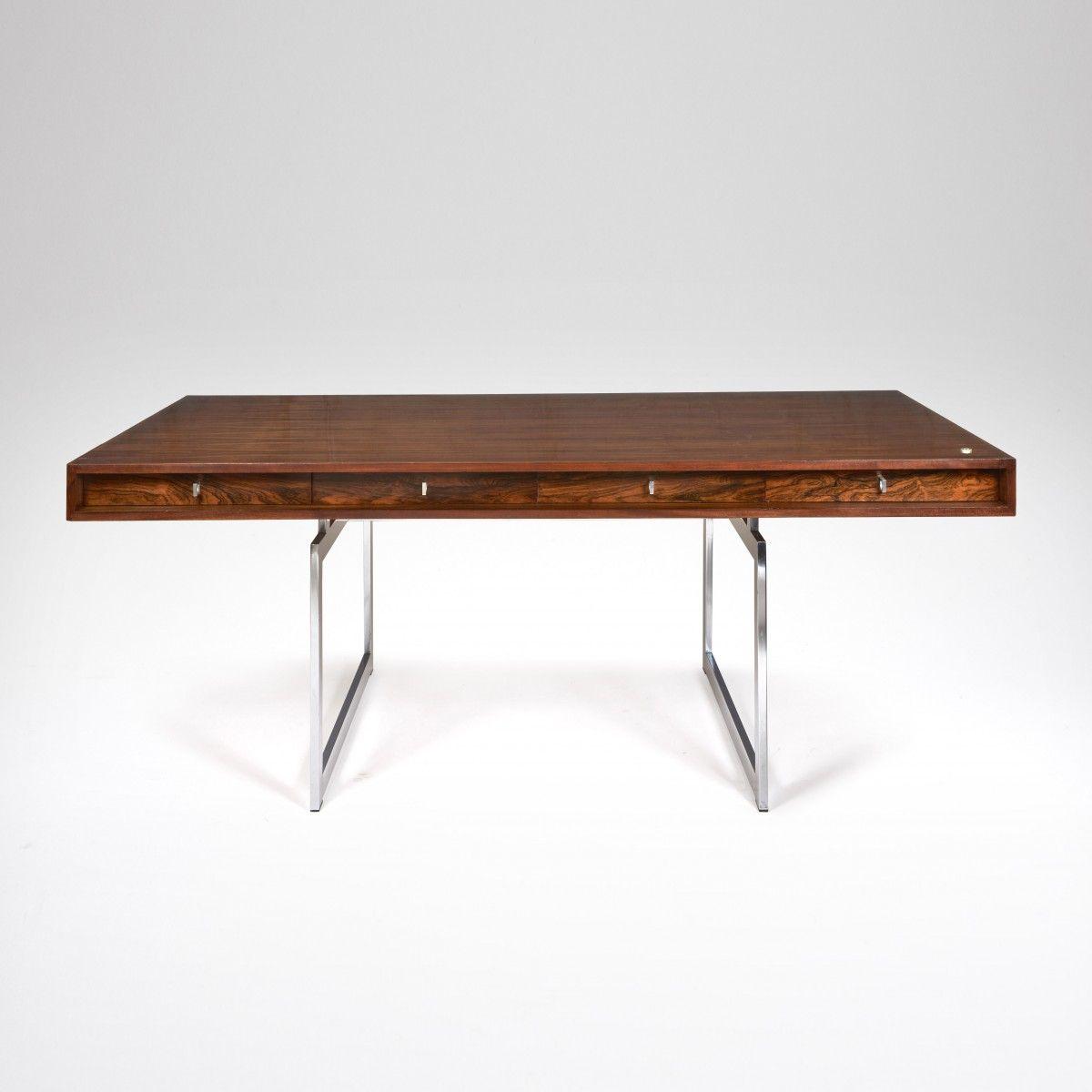 Dänischer Büro Tisch aus verchromten Stahl und Palisander von Bodil ...
