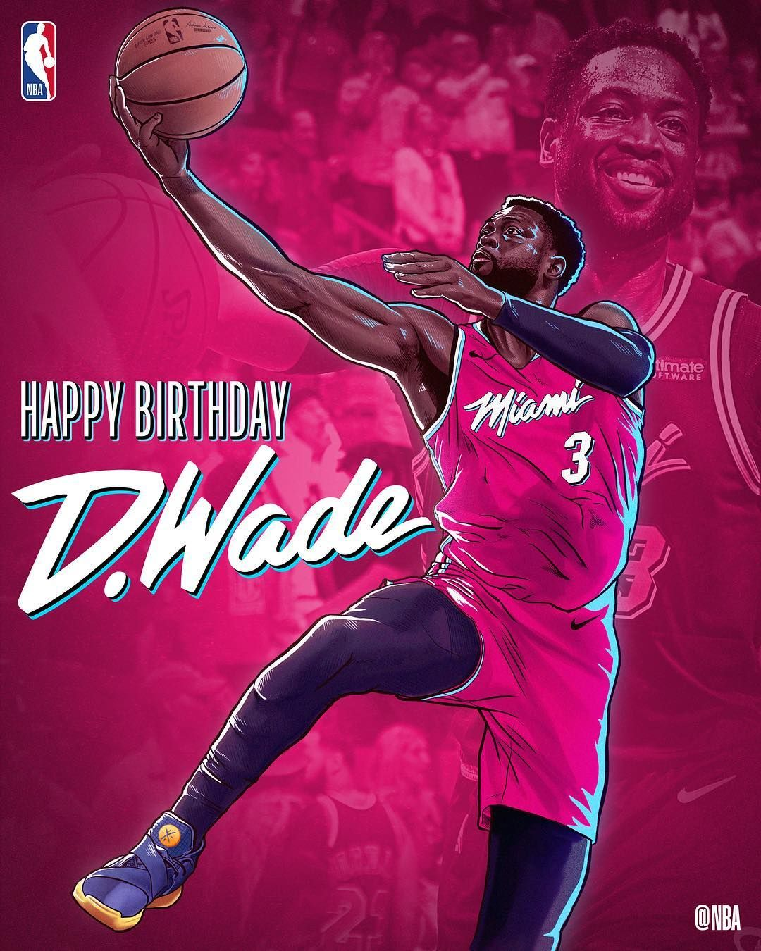 January 17 2019 Join Us In Wishing Dwyanewade Of The Miamiheat A Happy 37th Birthday Nbabday Nba Mvp Basketball Dwyane Wade