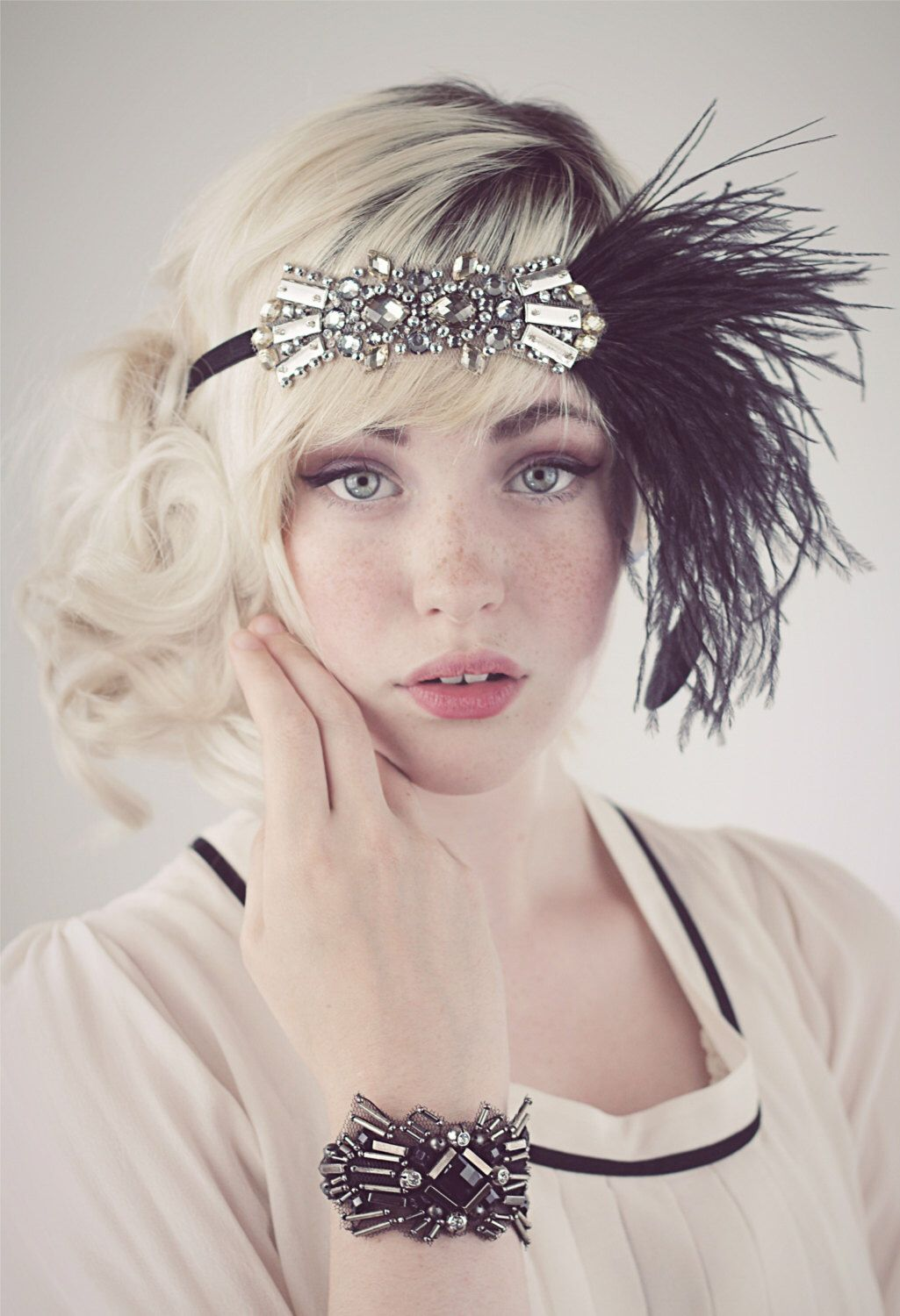 Deco Flapper Headband Antique Silver Beading with Black, Silver Gray or Charcoal Gray Ostrich Feather Headband by BaroqueAndRoll on Etsy https://www.etsy.com/listing/159361395/deco-flapper-headband-antique-silver
