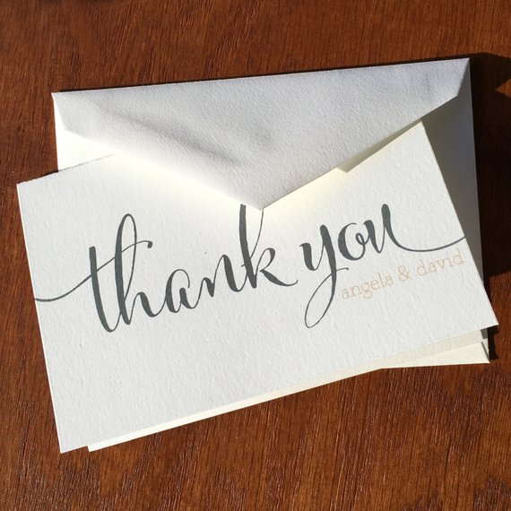 Wedding Thank You Notes Large Script Handmade Wedding