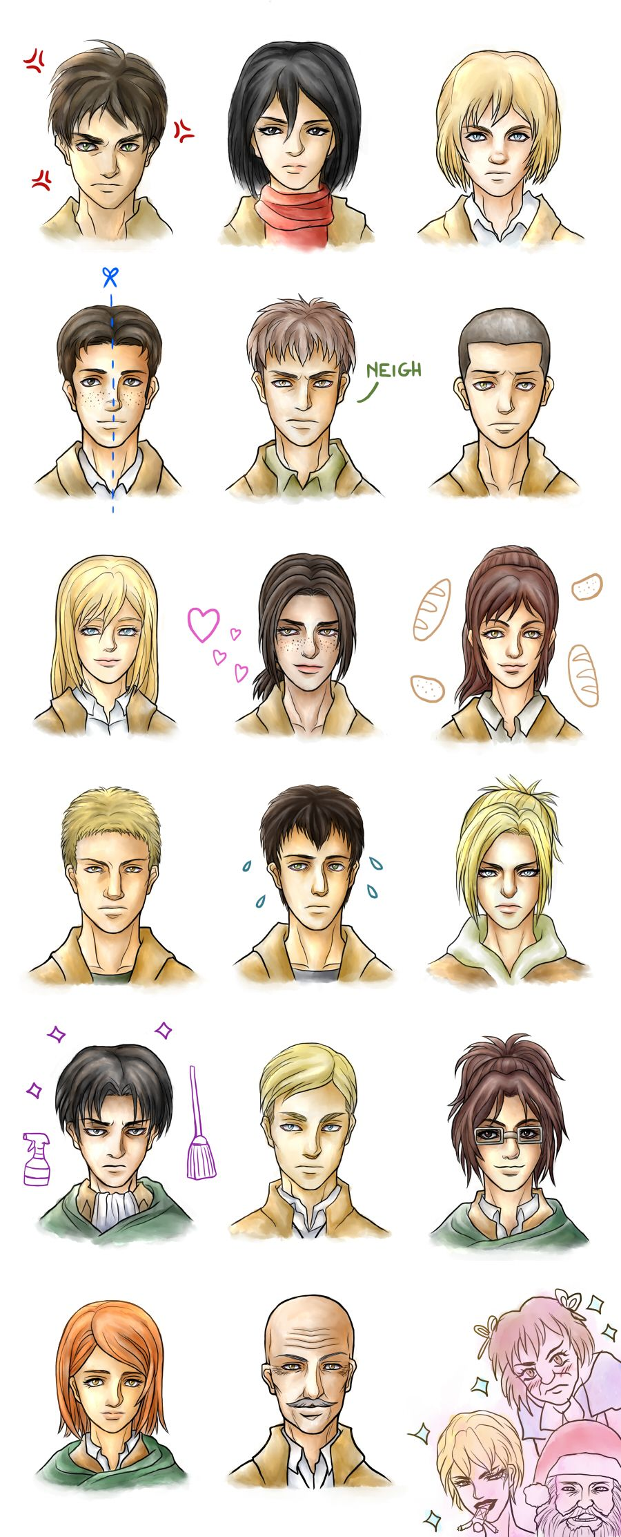 Attack on Titan characters by Asenath23 on DeviantArt