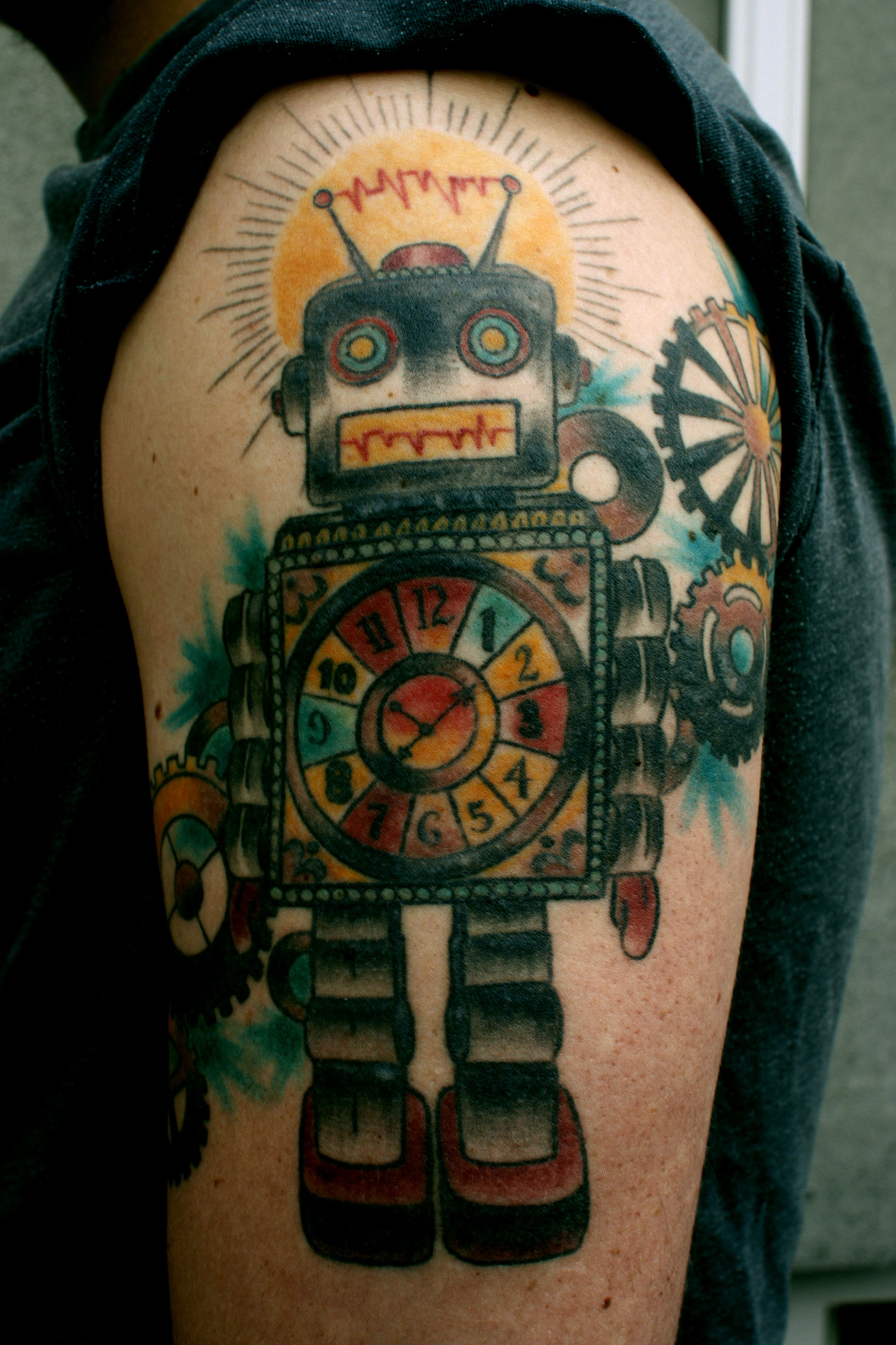 Biomechanical Colored Ink Robot Tattoo On Left Half Sleeve ...
