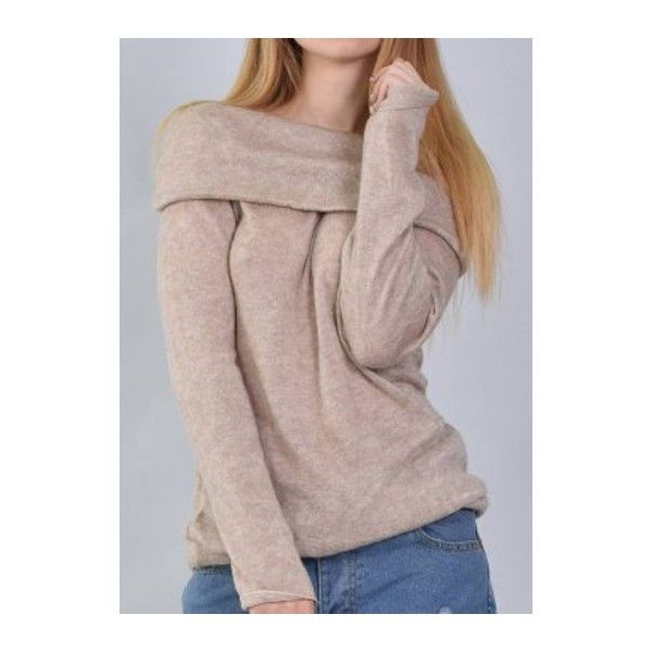 Rotita Khaki Off The Shoulder Cowl Neck Sweater 23 Liked On