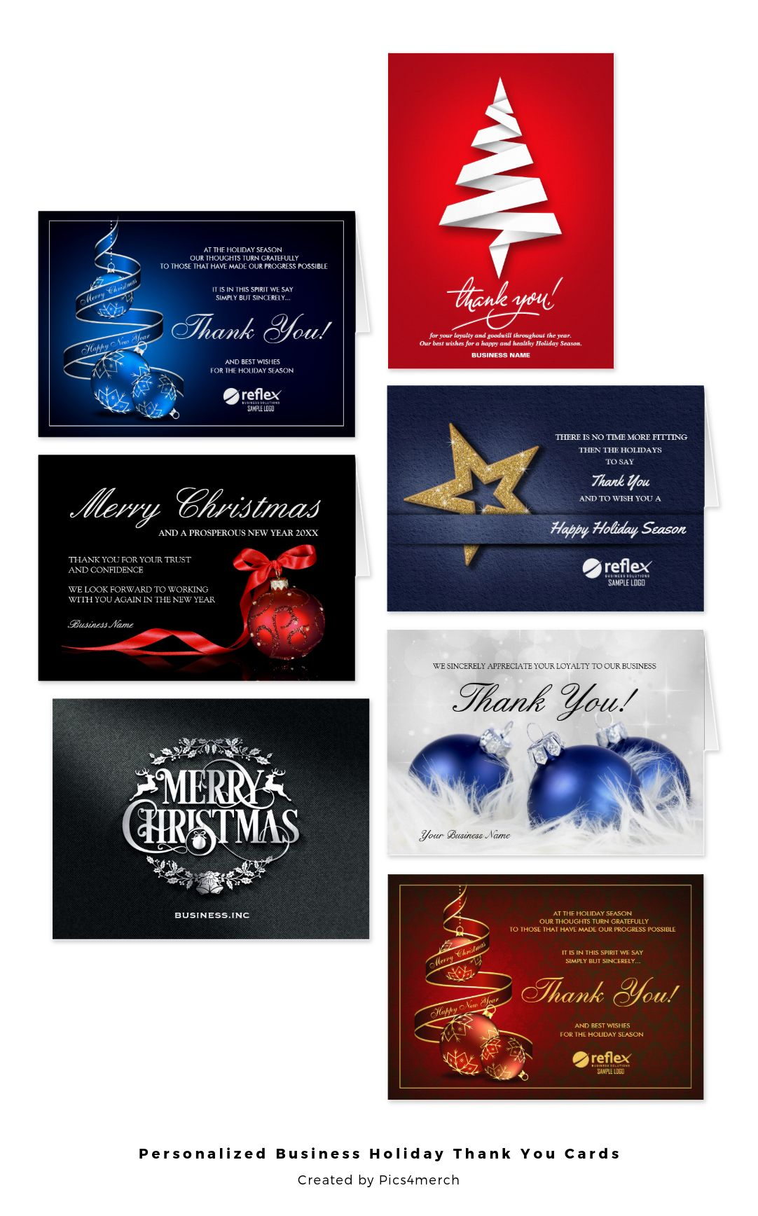 These personalized corporate holiday thank you cards, business ...