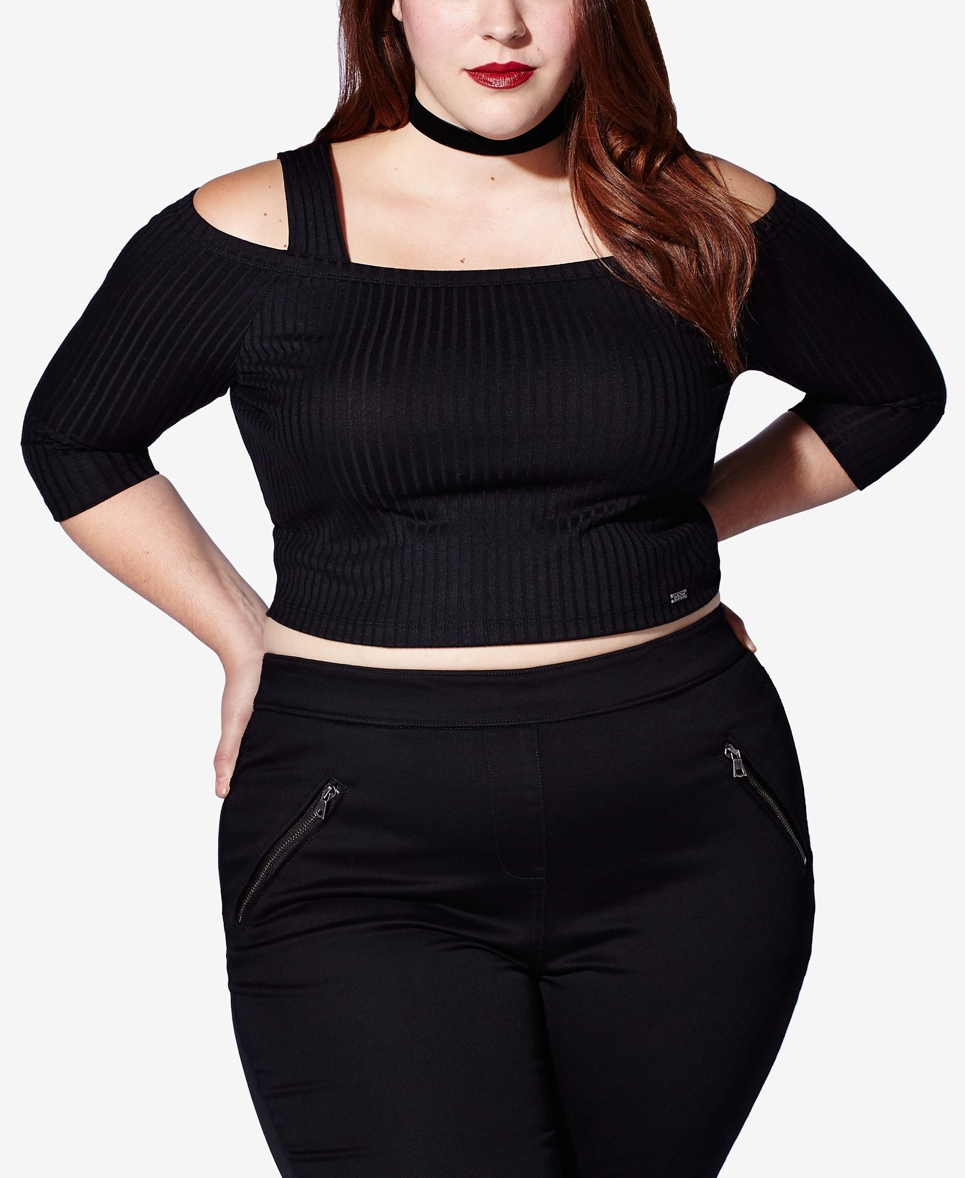 1d21427afcd85 mblm by Tess Holliday Trendy Plus Size Cold-Shoulder Crop Top