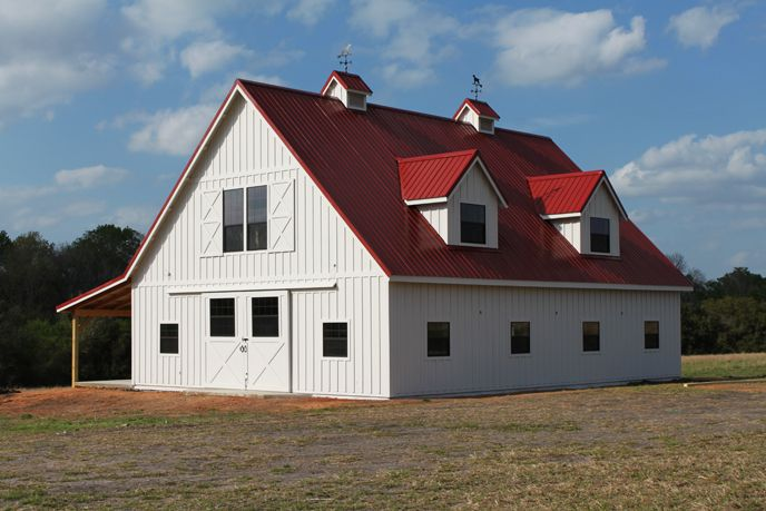 Barn Home Painted White With Red Metal Roof Looks So