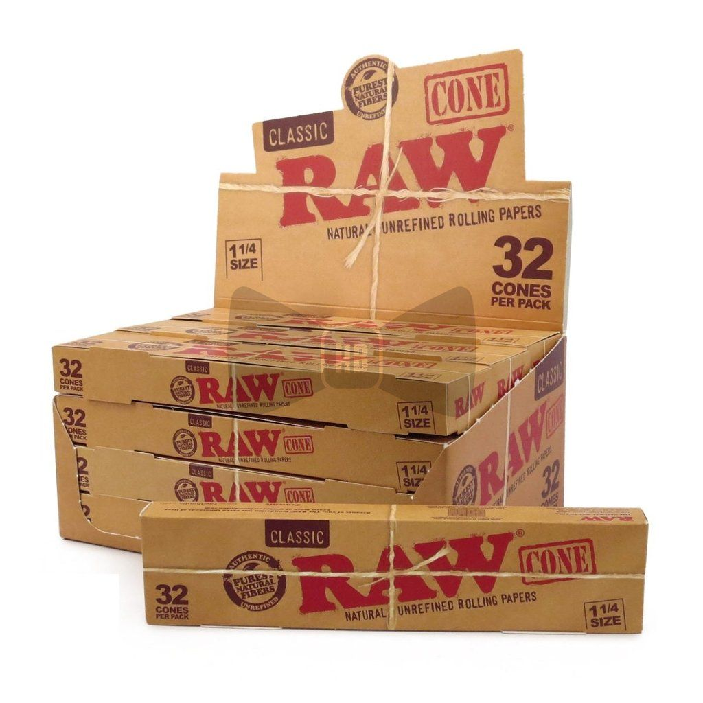 Raw Classic 1 1 4 Pre Rolled Cones 12 Count Box 32 Pack Cones Rolls Rolling Paper