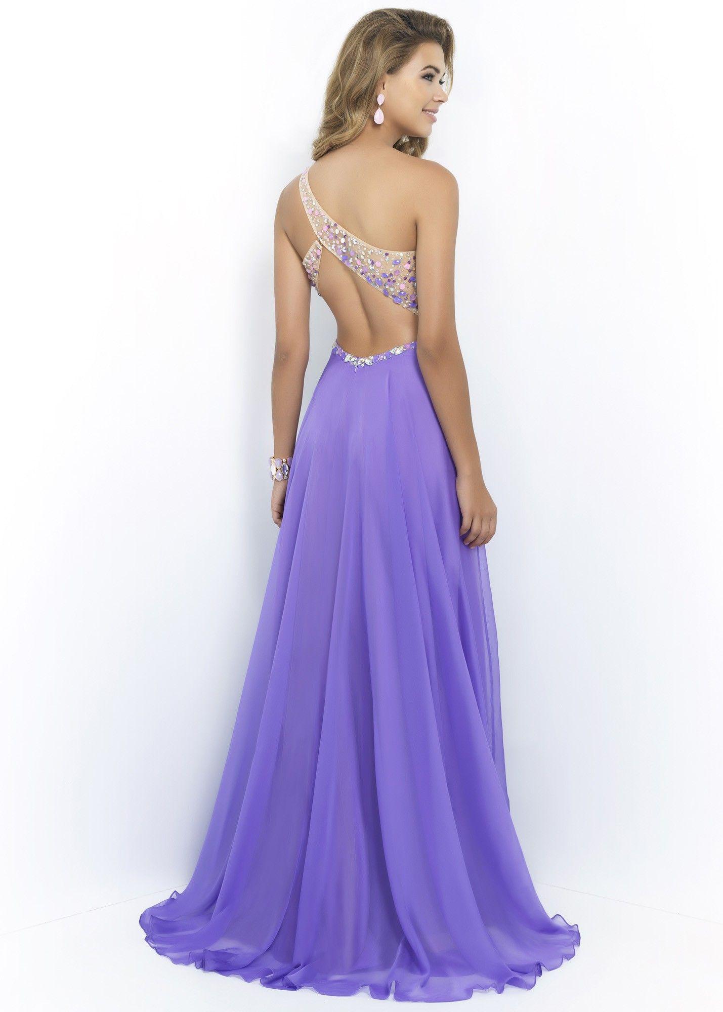 Blush Prom 9965 Beaded One Shoulder Chiffon Dress   Long evening ...