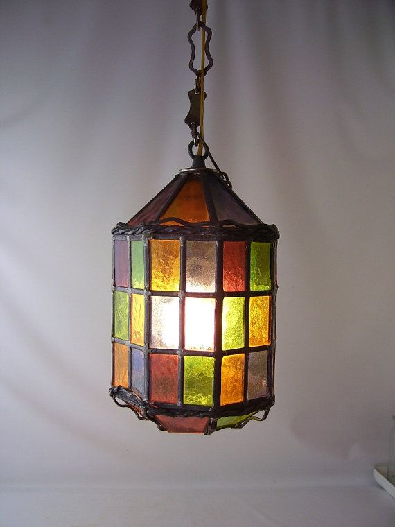 Vintage stained glass leaded hanging light lamp chandelier shade rainbow  colorful lighting mid century retro modern decorative home decor - Vintage Stained Glass Leaded Hanging Light Lamp Chandelier Shade