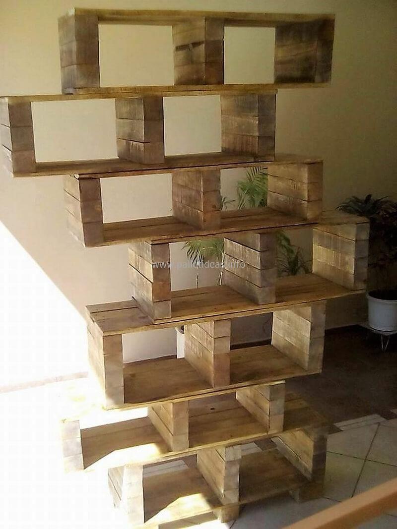 Wood pallet shelving art woodenpalletfurniture great ideas