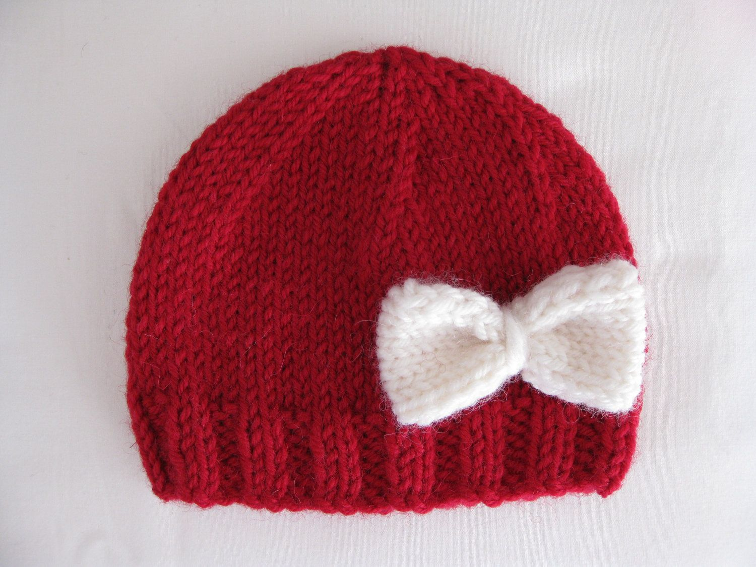 Pattern knit preemie newborn hat bow baby beanie 8ply DK double knit ...