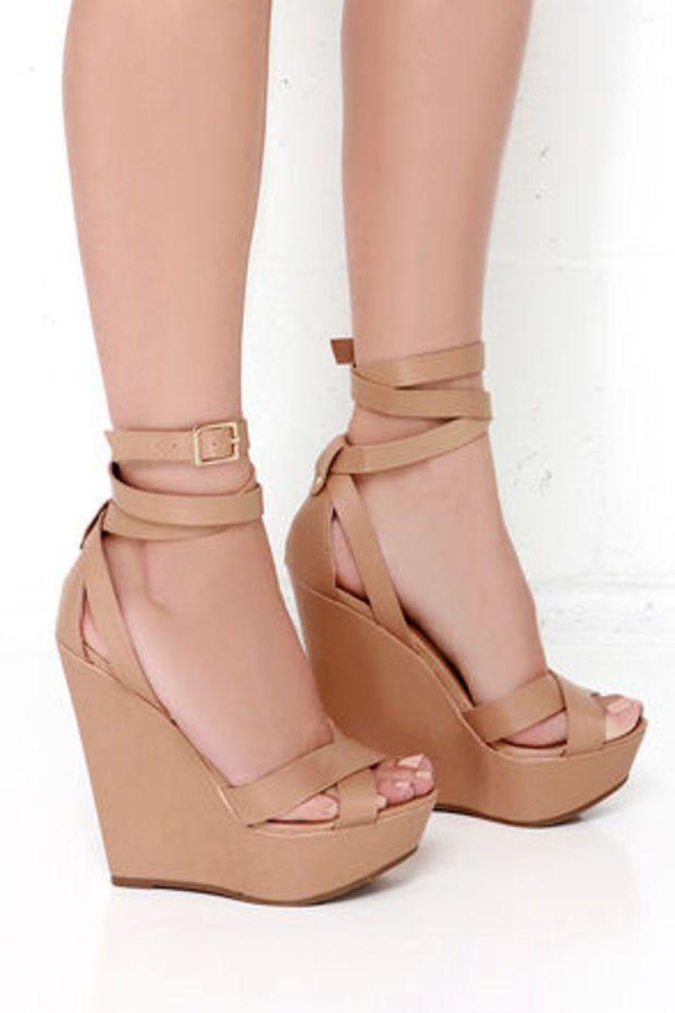 Heels, Wedge shoes, Peep toe wedge sandals