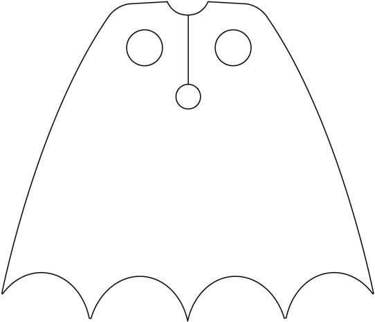 Printable Batman Cape Template Sketch Coloring Page