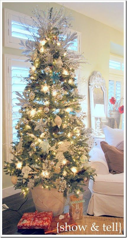 tall skinny christmas tree put in flower pot to make taller - Christmas Tree In A Pot