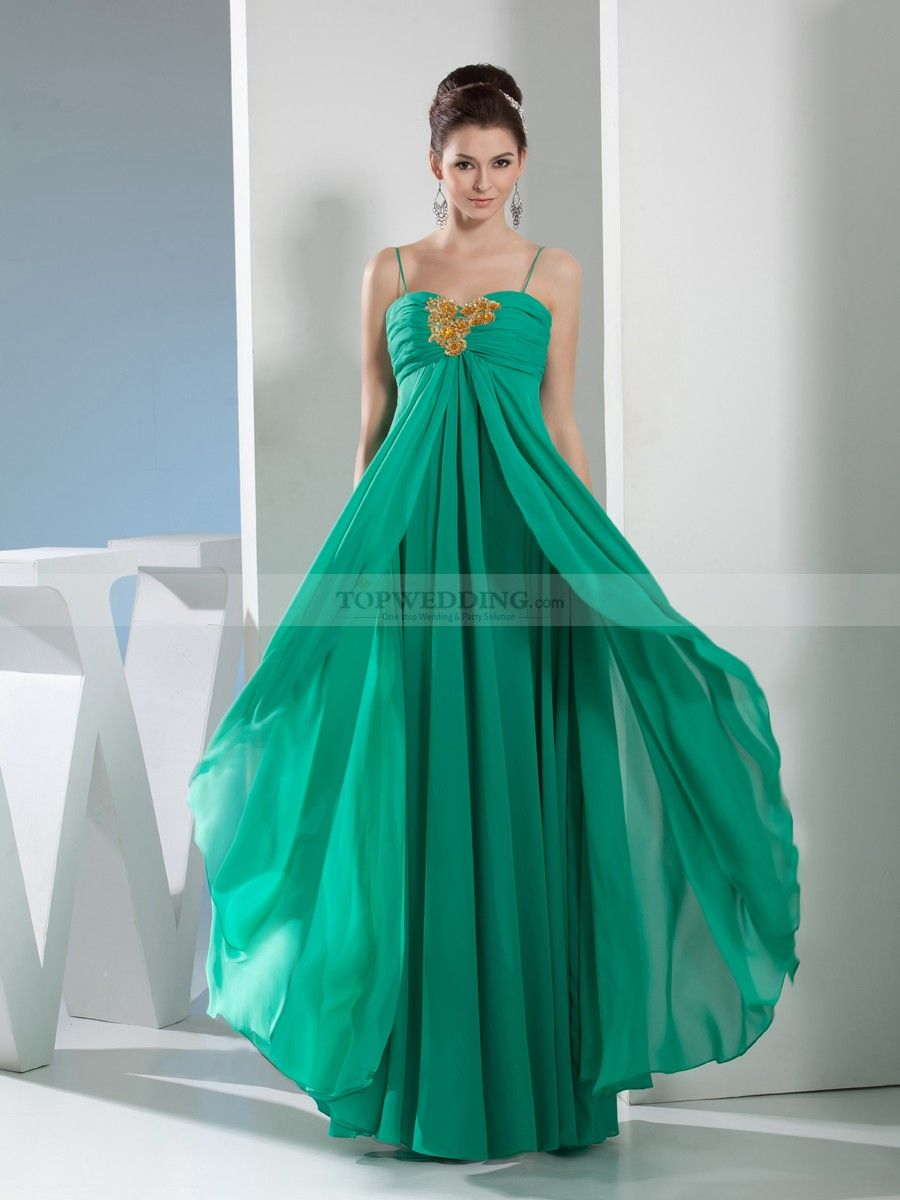 Spaghetti Strap Pleated Long Chiffon Prom Dress with Beaded Applique ...