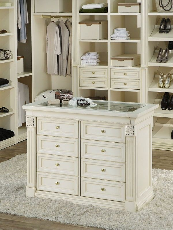 Luxury Walking Closet Custom Built In Cabinets With Center Island
