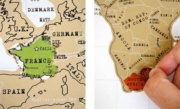 Um mapa feito de raspadinha para deixar marcadas todas as suas aventuras ($20).