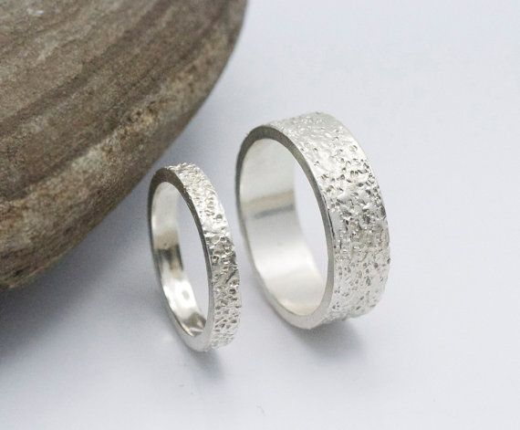 Wedding Ring Set 14k White Gold Textured Unique Rings