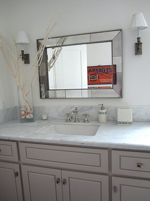 note rectangular hardware on painted cabinets, also great sconces