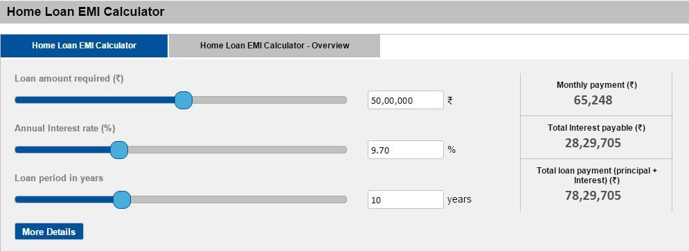 Emi For The Loan Amount Of  Lacs  Home Loan Calculators