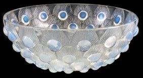 """RENE LALIQUE MOLDED OPALESCENT GLASS """"PLUMES DE PAON"""" BOWL Model introduced 1932. Signed R. Lalique France"""