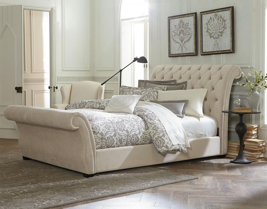 Bedroom Cool White Waverly Tufted Leather King Sleigh Bed Featuring Scroll Button Upholstered Headboard And Classy Bedroom Upholstered Sleigh Bed Bedroom Sets