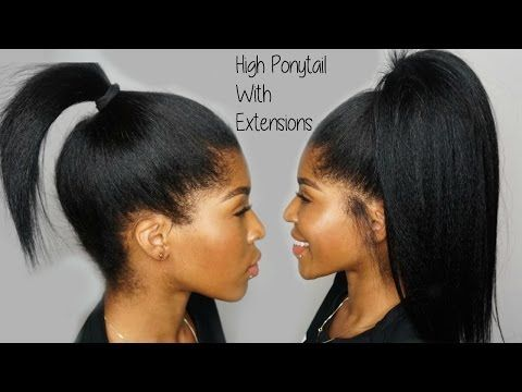 How To High Ponytail With Clip Extensions Video Black Hair Information Clip In Ponytail Short Hair Ponytail Black Ponytail Hairstyles