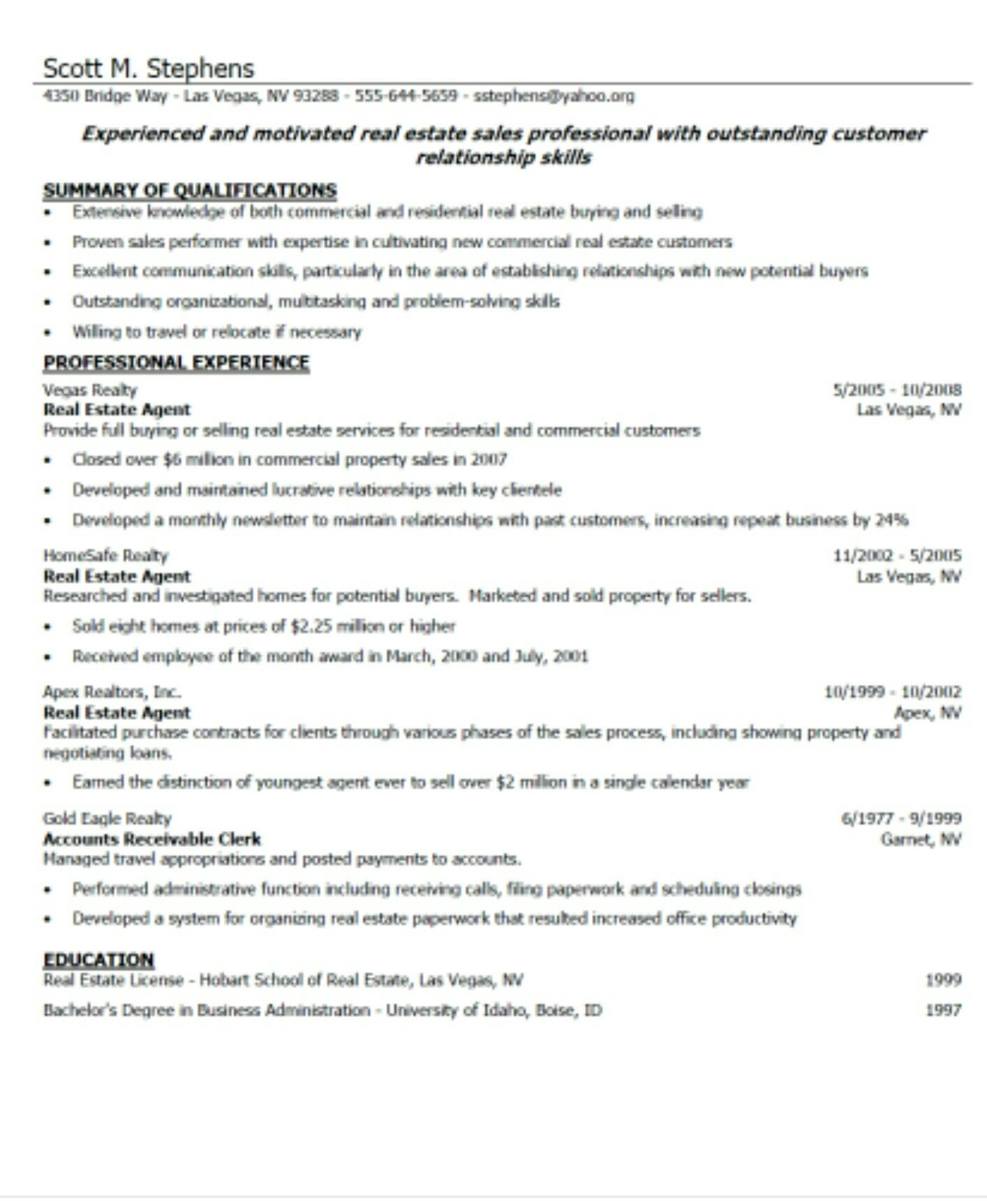this image shows an example of a resume and how a